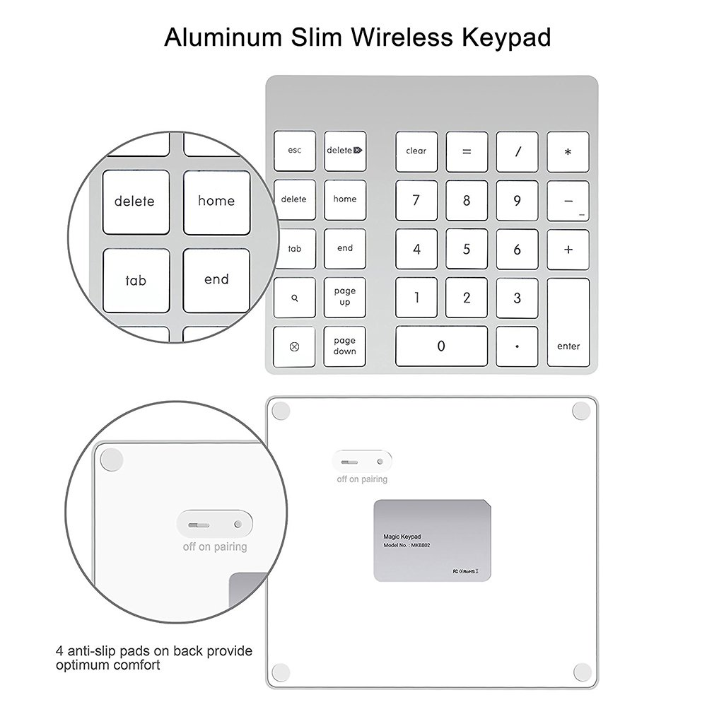Cateck 28-Key Rechargeable Aluminum Bluetooth Wireless Keypad Number Pad Keyboard for iMac, MacBook Air, MacBook Pro, MacBook, and Mac Mini by Cateck (Image #2)