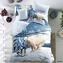 Super Soft Bedding Set, Cozy Warm Quilt Cover White Polar Bear Warm, Cozy, Lightweight, Luxury Winter Full Size/3pcs(1pc Quilt Cover+2pc Pillowcase)Without Comforter