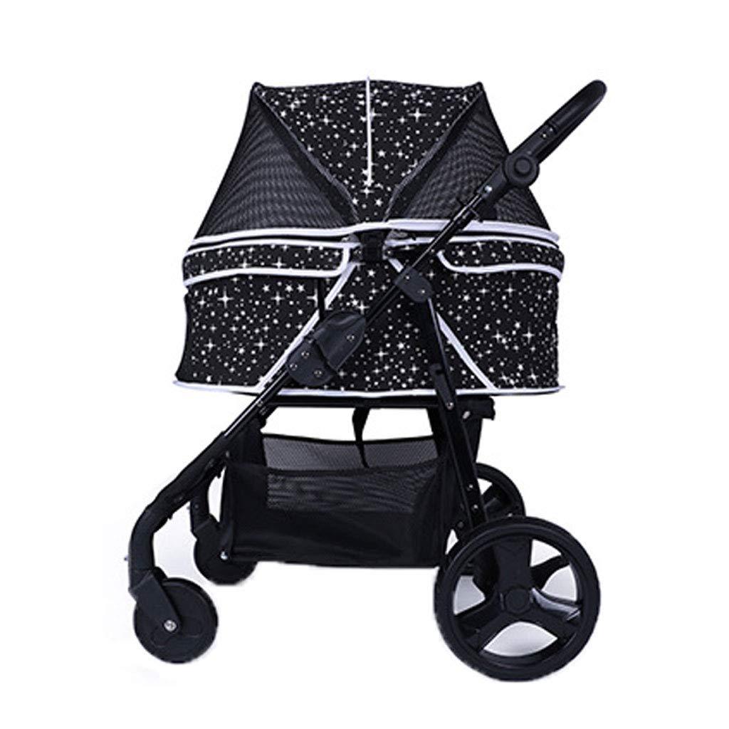 Black A3 Pet Stroller Rainproof Detachable Multi-Purpose Folding Cart Out Light Hand Trolley Dog Cat Sport Car. Dog cart (color   Black)