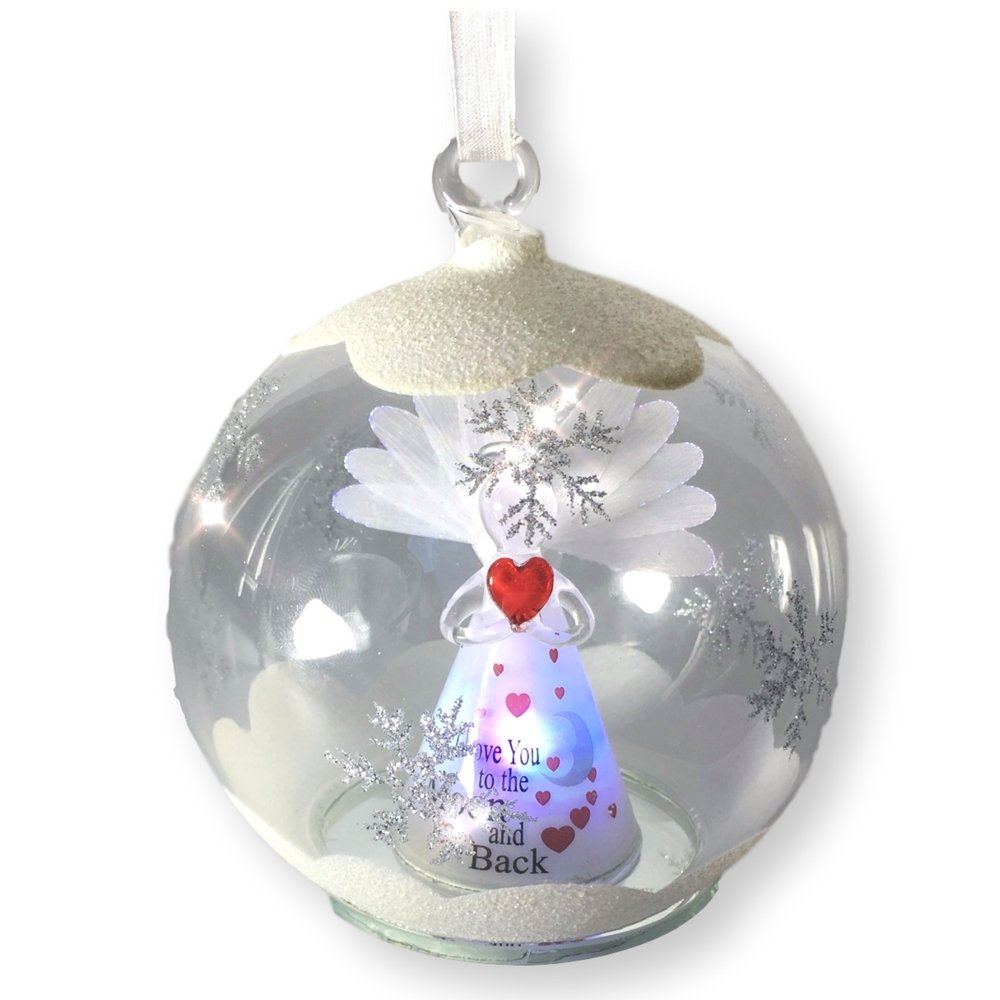 Love You to the Moon and Back Ornaments - LED Lighted Glass Christmas Ornament - Light Up Globe with I Love You To The Moon and Back Angel Inside