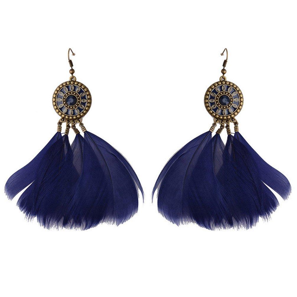 Dangle Earring Girls Vintage Retro Ethnic Drop Bohemian Lolita Antique Bead Tassel Feather Navy