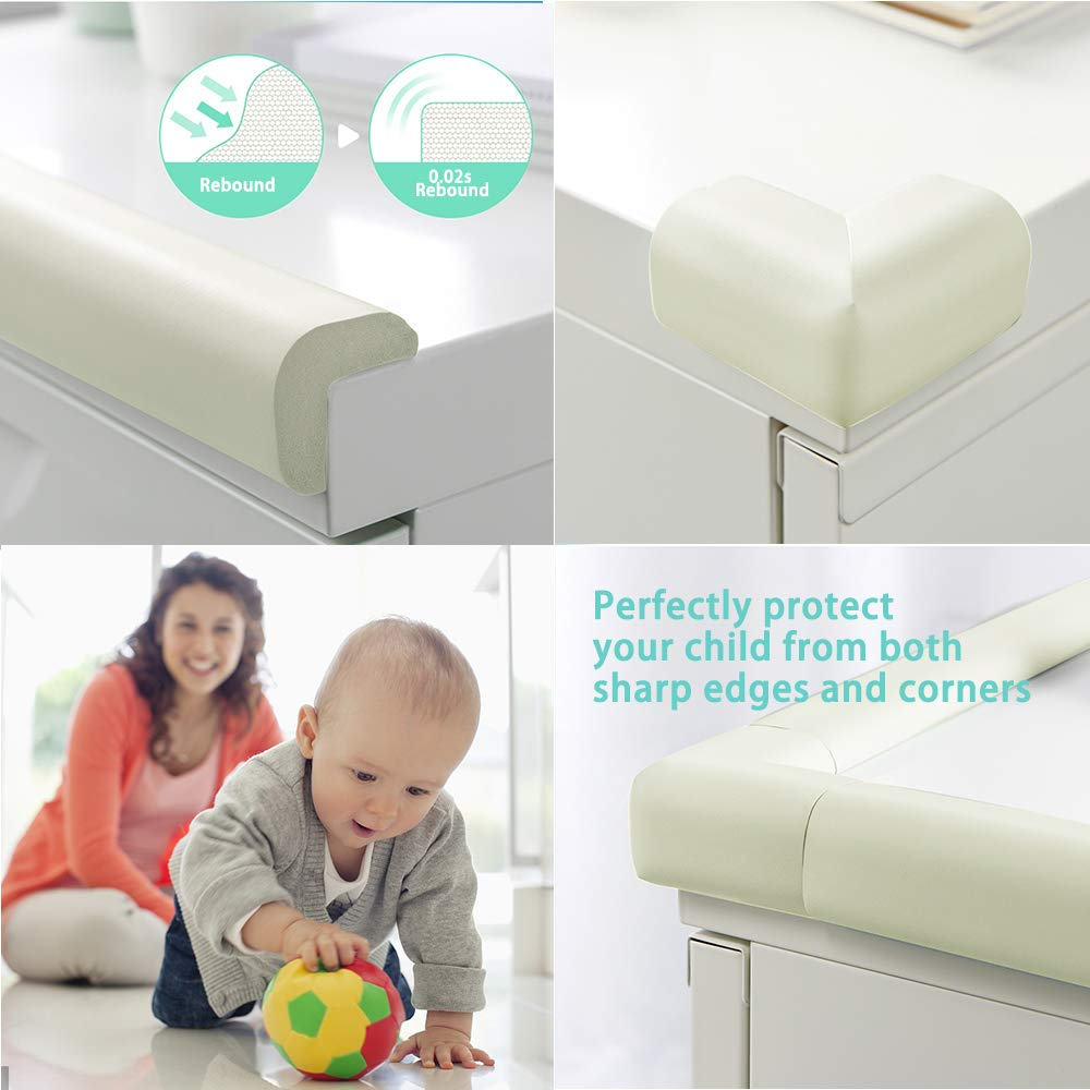 Furniture Edge Corner Bumper Guard Table Sharp Edges Protector Extra Long 20ft Coverage Incl 4 Pre-Taped Corners Child Safety Baby Proofing Edge /& Corner Guards Set White
