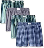 Tommy Hilfiger Men's Underwear 4 Pack Cotton Classics Woven Boxers,  Green Multi/Juniper/Carbon,  X-Large