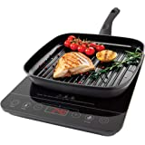 Quest 35839 Single Digital Induction Ceramic Portable Hob 2000W Hot Plate with 10 Temperature Settings and Touch Control, Black