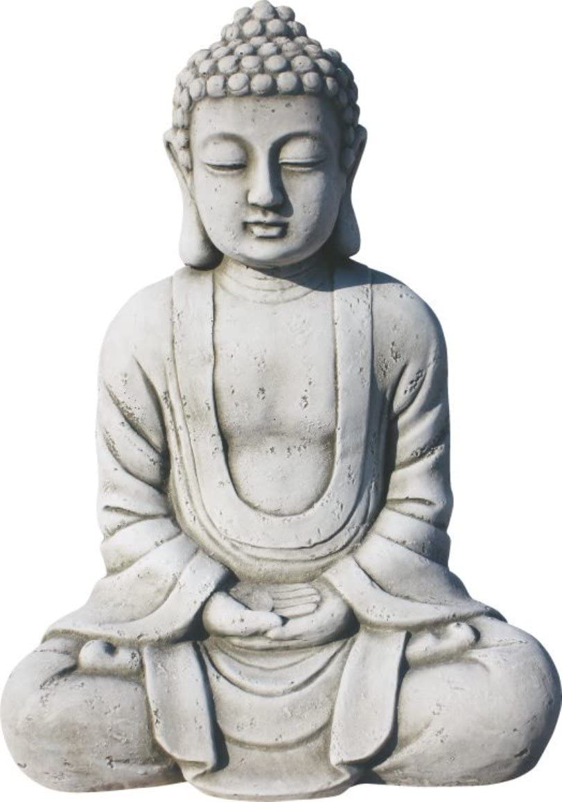 AnaParra Estatua Buda Tissa del Éxito Figura Decorativa para Jardín o Exterior Hecho de Piedra Artificial   Figura Buda 38cm, Color Natural Musgo