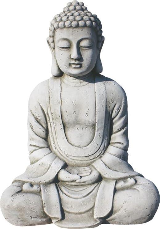 AnaParra Estatua Buda Tissa del Éxito Figura Decorativa para Jardín o Exterior Hecho de Piedra Artificial | Figura Buda 38cm, Color Natural Musgo: Amazon.es: Jardín