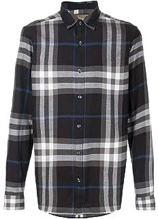 262813e14ff Burberry Mens Nelson Gray Plaid Check Long Sleeve 100% Cotton Button ...