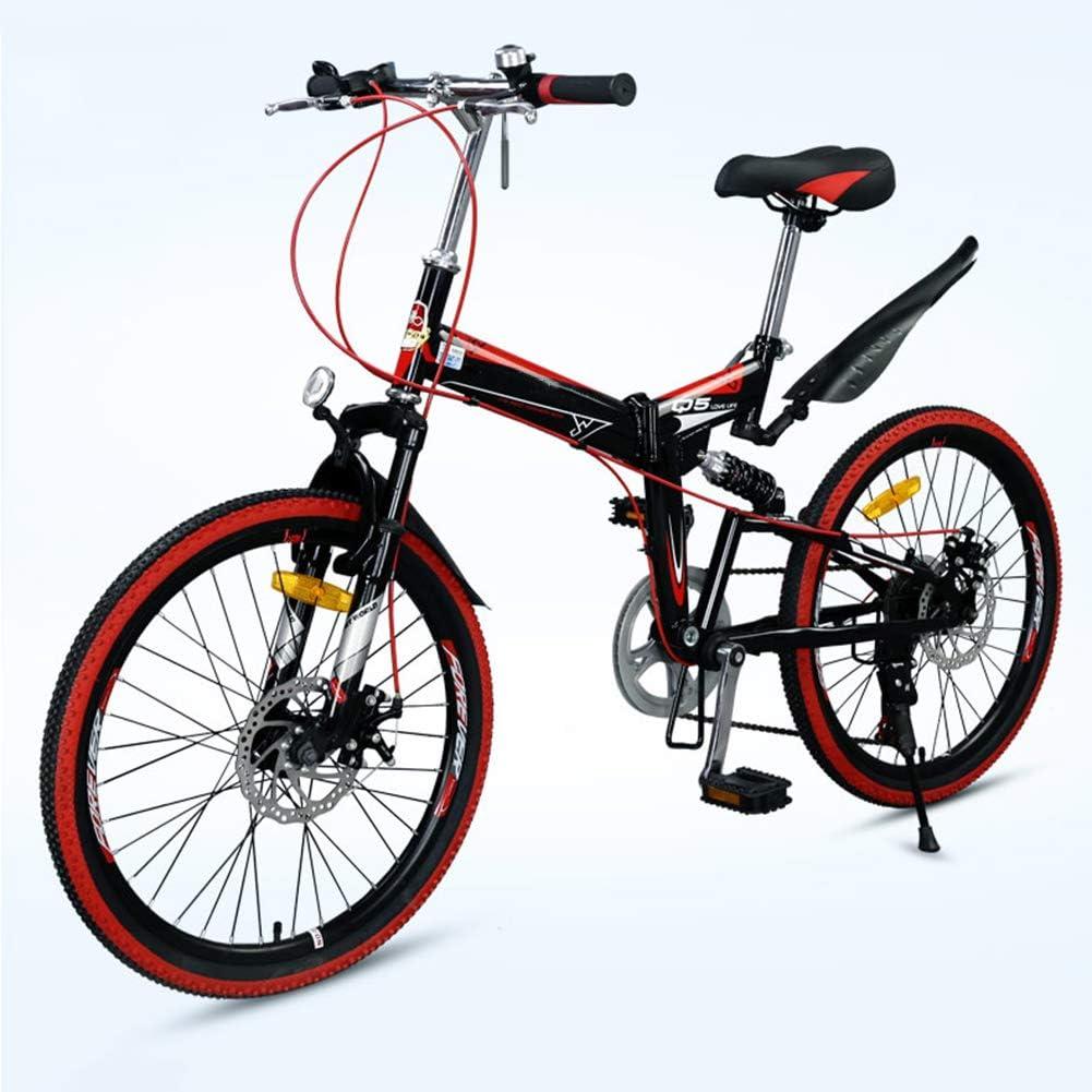 Grimk Bicicleta De Montaña Plegable Hombre,Mountain Bike Btt,Bici Unisex Adultos Ligera,Cuadro De Aluminio,7 Velocidades,Rueda De 22 Pulgadas,sillin Confort Ajustables