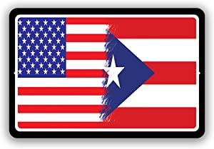 """Puerto Rico Country Flag vs USA Man Cave Metal Decor Tin Sign Indoor and Outdoor use 8""""x12"""" or 12""""x18"""""""