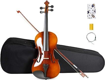 ARTALL 4/4 Violín acústico hecho a mano para estudiantes, paquete para principiantes con lazo, estuche duro, soporte para barbilla, afinador, cuerdas de repuesto, colofonia y puente.: Amazon.es: Instrumentos musicales