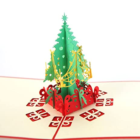 paper spiritz merry christmas tree greeting card 3d pop up holiday greeting card with envelope