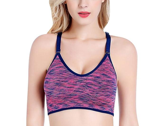 Quge Mujer Sujetador Deportivo Push Up Bustier Fitness Yoga Rosa L: Amazon.es: Ropa y accesorios
