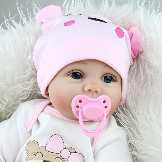 NPKDOLLS Reborn Baby Dolls 22 inches Soft Simulation Silicone Vinyl Vivid Boy Girl Toy Pink Bear Lucy