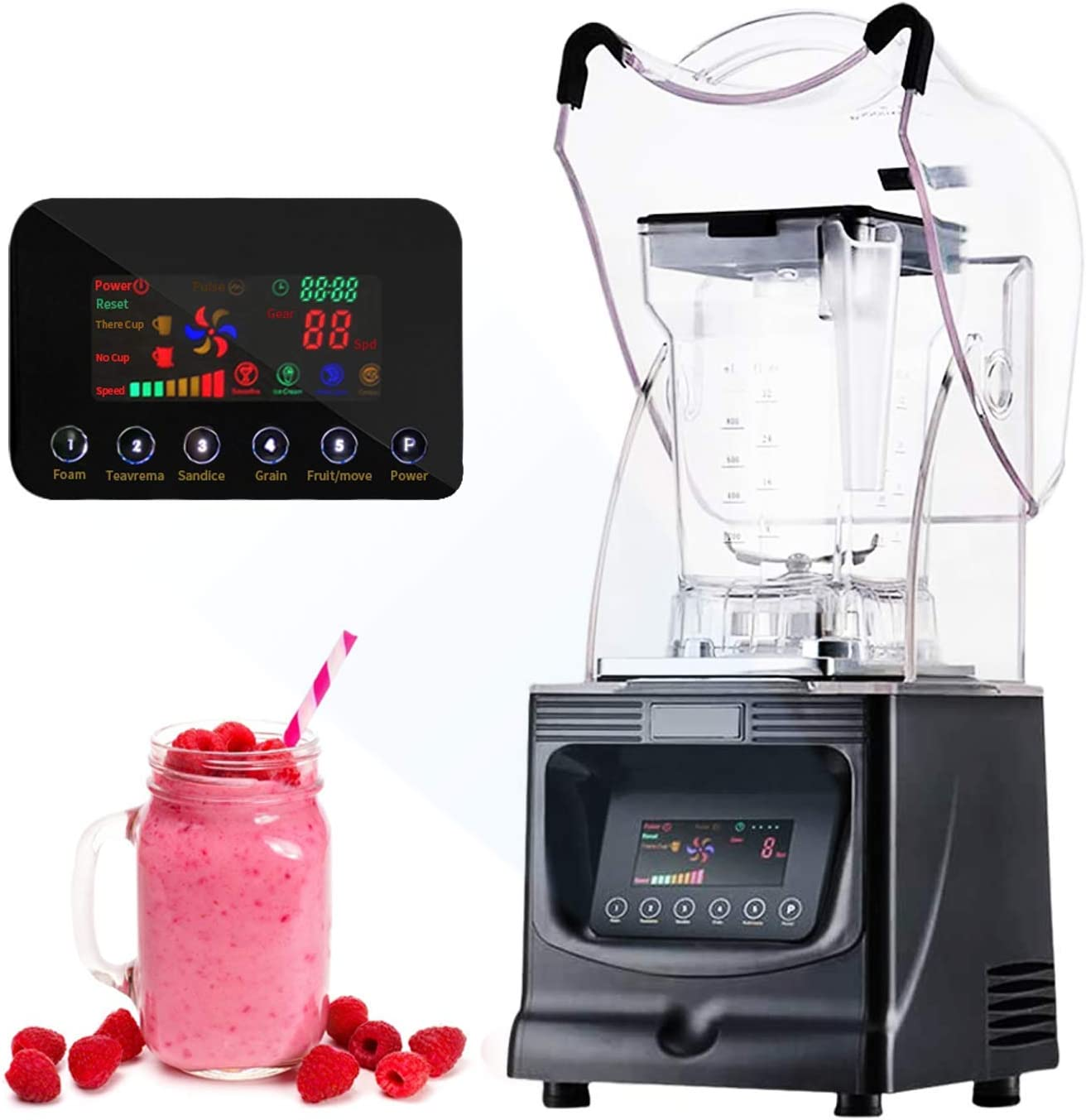 JIAWANSHUN Commercial Smoothie Blenders Heavy Duty 52oz Professional Ice Blender 1800W Ice Crusher Quiet&Speed Control for Milkshakes Juices Nut Butter (110V)