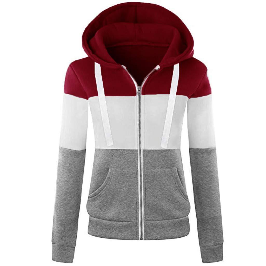 Fammison Womens Long Sleeve Full Zip Sherpa Jackets Patchwork Fleece Coat with Zipper Pockets Red by Fammison