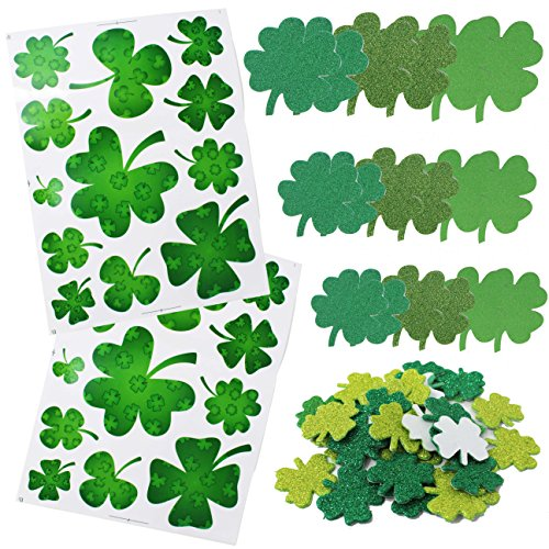 Joyin Toy 78 Pieces St. Patrick's Day Shamrock Window Clings and Saint Patrick Day Shamrock Cutout Glitter Foam Stickers Party Favor Decorations