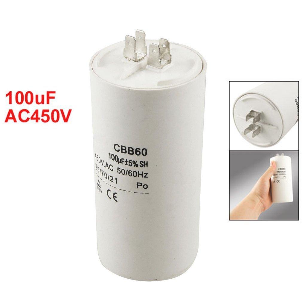 TOOGOO(R) CBB60 Condensador de funcionamiento del motor no polar 450V AC forma de cilindro 100uF SPHAGT61615