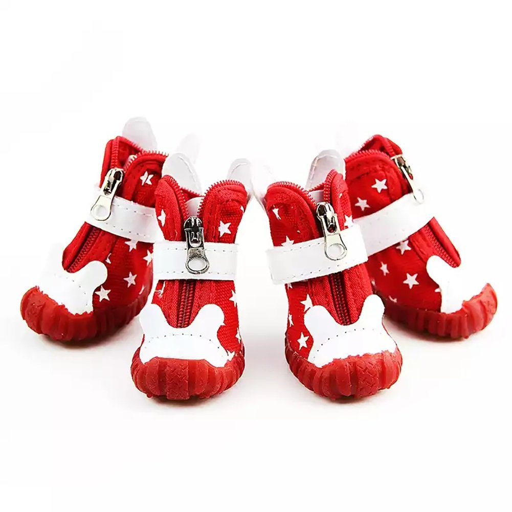Red 5  Red 5  Pet Sneakers shoes, Non-Slip Boots Metal Zipper Velcro Wear-Resistant Oxford shoes 4 PCS Sport Dog Boots 2 color & 5 Size (color   Red, Size   5 )