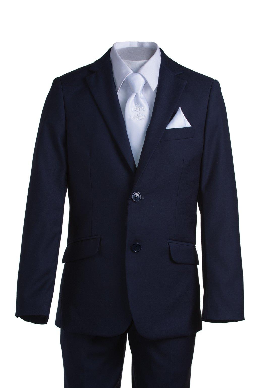 Boys Slim Fit Navy Suit, White Communion Cross Tie, Suspenders & Handkerchief (10 Boys) by Tuxgear (Image #4)