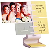 "NoteTower Desktop Mini White - Sticky Note Organizer and Dispenser - Holds and Displays Photos, Sticky Notes and Business Cards + Bonus 50 Sheets 3"" x 3"" Sticky Notes"