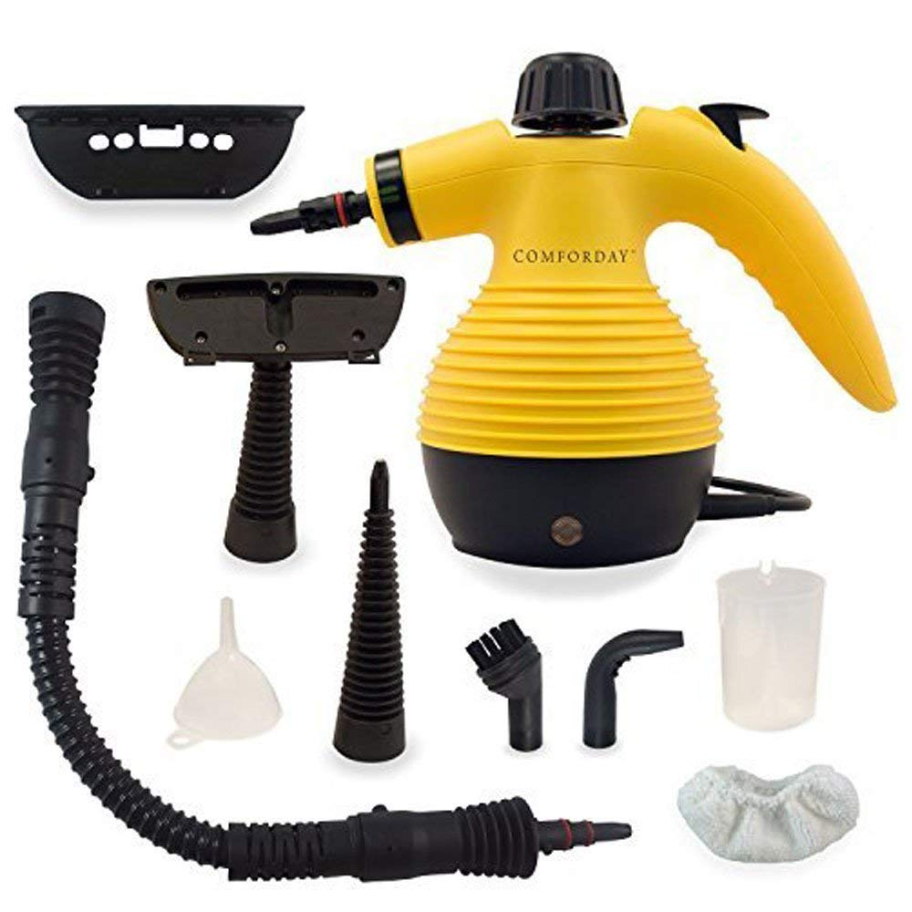 Comforday Multi-Purpose Steam Cleaner, High Pressure Chemical Free Steamer with 9-Piece Accessories, Perfect for Stain Removal, Carpet, Curtains, Car Seats,Floor,Window Cleaning(Upgrade) (Yellow) by Comforday