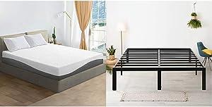 Olee Sleep 10 Inch Grey I Gel Layer Top Memory Foam Mattress & 18
