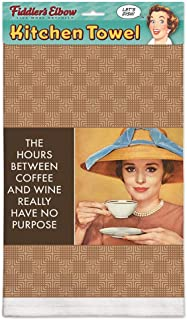 product image for Fiddler's Elbow The Hours Between Coffee and Wine Really Have No Purpose 100% Cotton Eco-Friendly Kitchen Dish Towel, Kitchen Towel with Hanging Loop, Vintage Dish Towel, Kitchen Towel with Quote