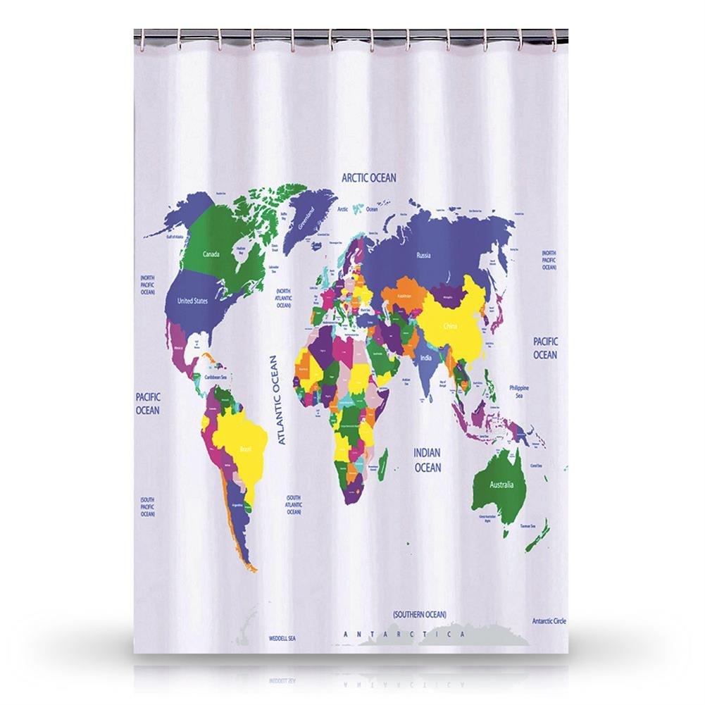 World Map Atlas Shower Curtain Bath 180 Cm Amazoncouk Kitchen Home