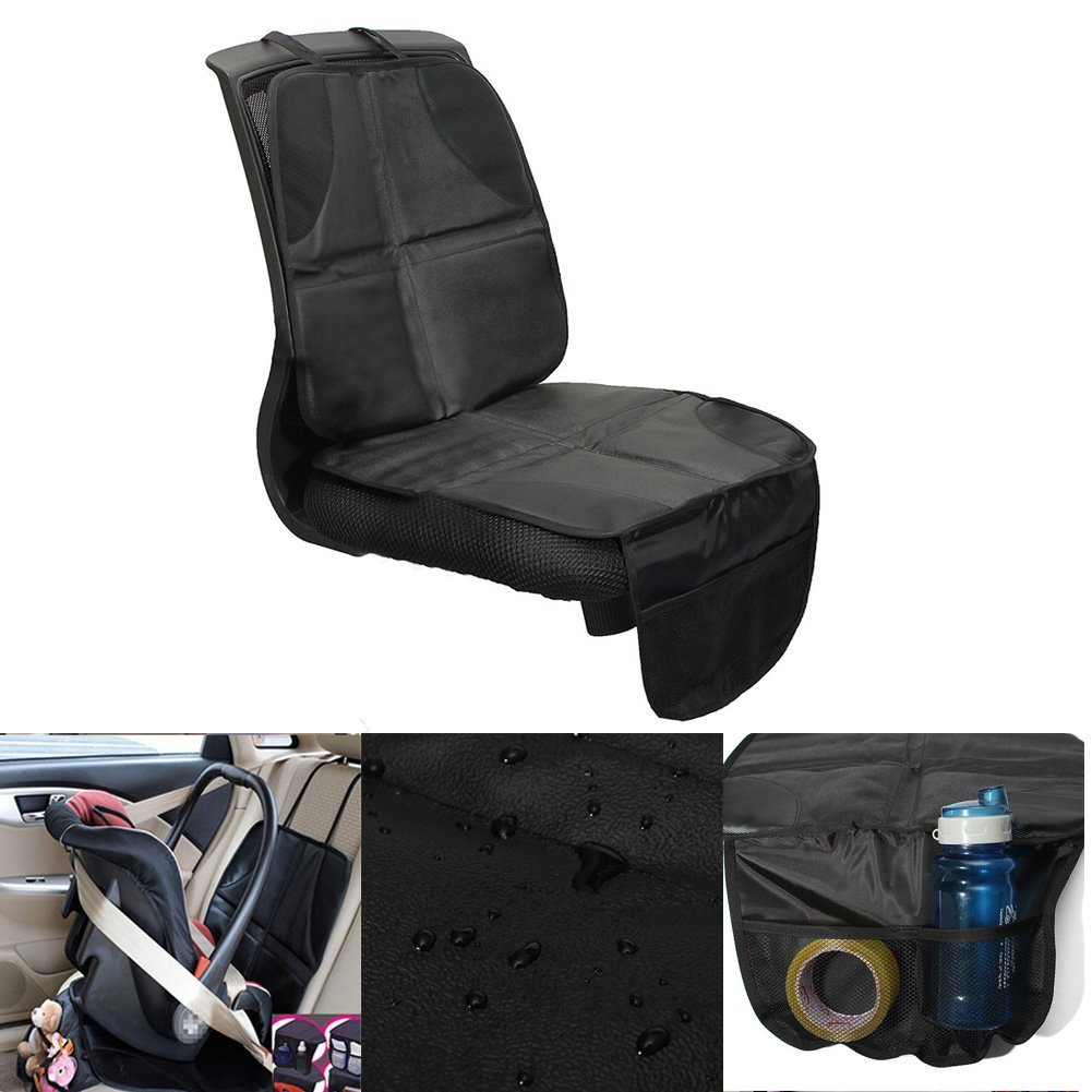 2pcs Child Car Seat Protector Mat Anti-slip Safety Cushion Cover with Organizer Storage Pocket Littleduckling