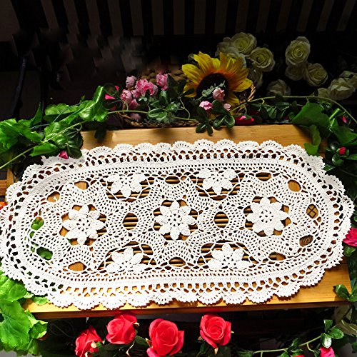 Beautiful Handmade Lace - KEPSWET Pretty Hand-made Hollow Flower Table Runner Small Doilies Lace Cotton Crochet Tablecloth Retro knitted Sofa Towel Beautiful Table Overlay Decor (12x30 inch, White)