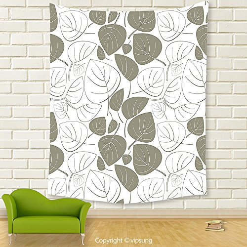 Vipsung House Decor Tapestry_Leaves Decor Collection Leaves Pattern Outline Silhouette Ornament Floral Design Victorian Style Art Gray White_Wall Hanging For Bedroom Living Room Dorm