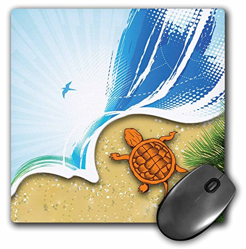 3dRose LLC 8 x 8 x 0.25 Inches An Ocean and Beach Scene with A Sea Turtle Mouse Pad (mp_152553_1) - Turtle Scene