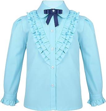 YiZYiF Camisa Princesa Niñas Manga Larga Camisas Volantes Elegante Blusa Traje Colegiala Niña Uniforme Escolar Ropa Comunión 5-14 Años: Amazon.es: Ropa y accesorios