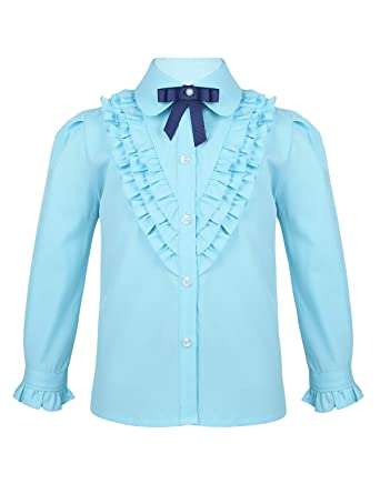 MSemis Camisa de Vestir para Niñas Blusa Manga Larga con ...