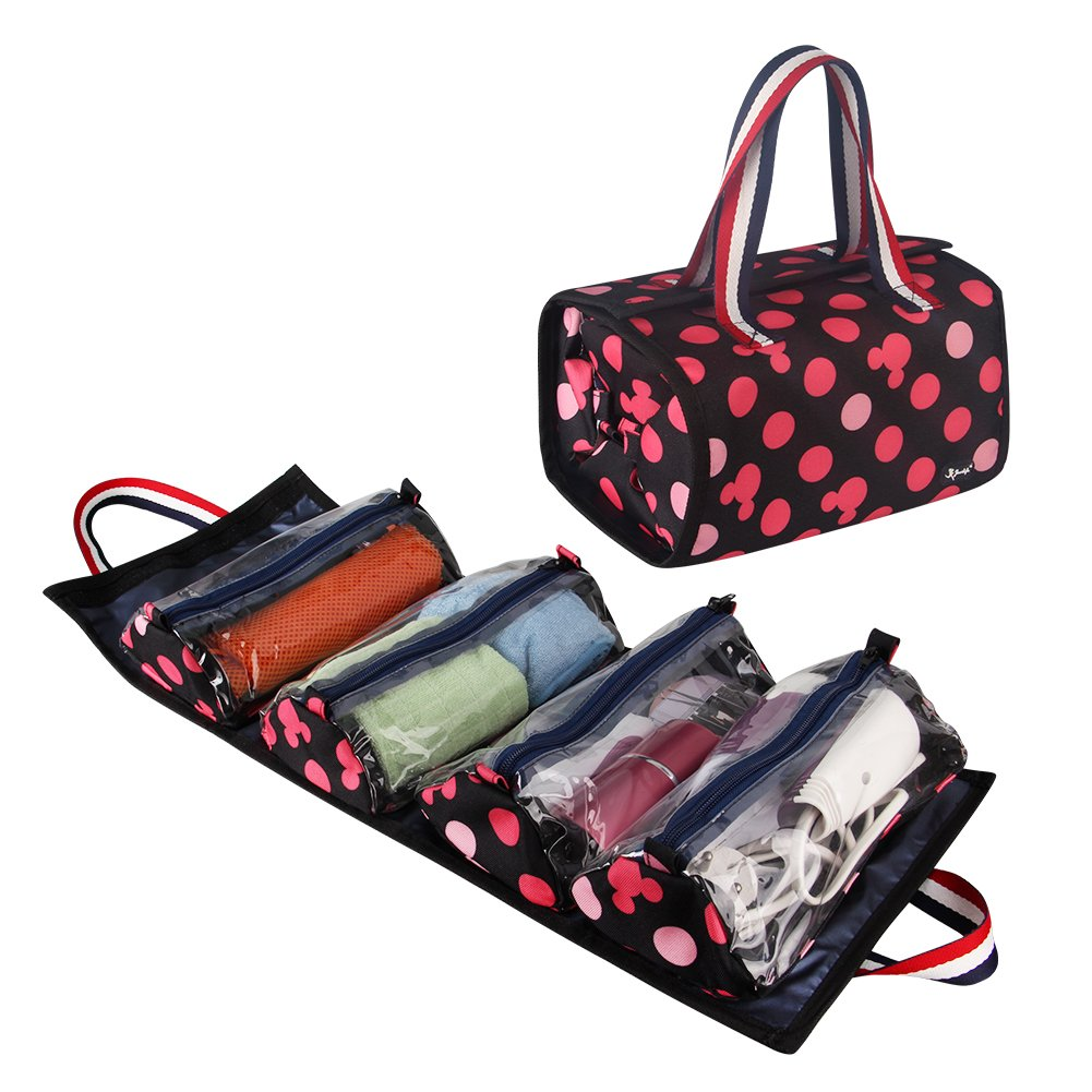 Jovilife 4 in 1 Hanging Roll up Makeup Bag, Travel toiletries Bag Organizer - 4 Kit Removable Toiletry Bags for Men and Women, Mickey Red