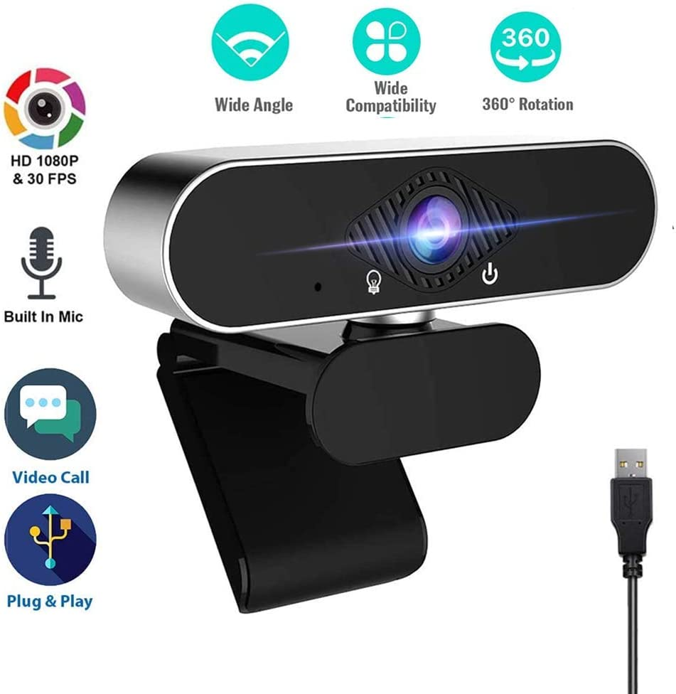 1080P Webcam with Microphone, USB Web Cam Computer Camera for PC Mac Laptop Desktop,Webcams for YouTube Skype Gaming Conferencing Live Online, Free-Driver Installation