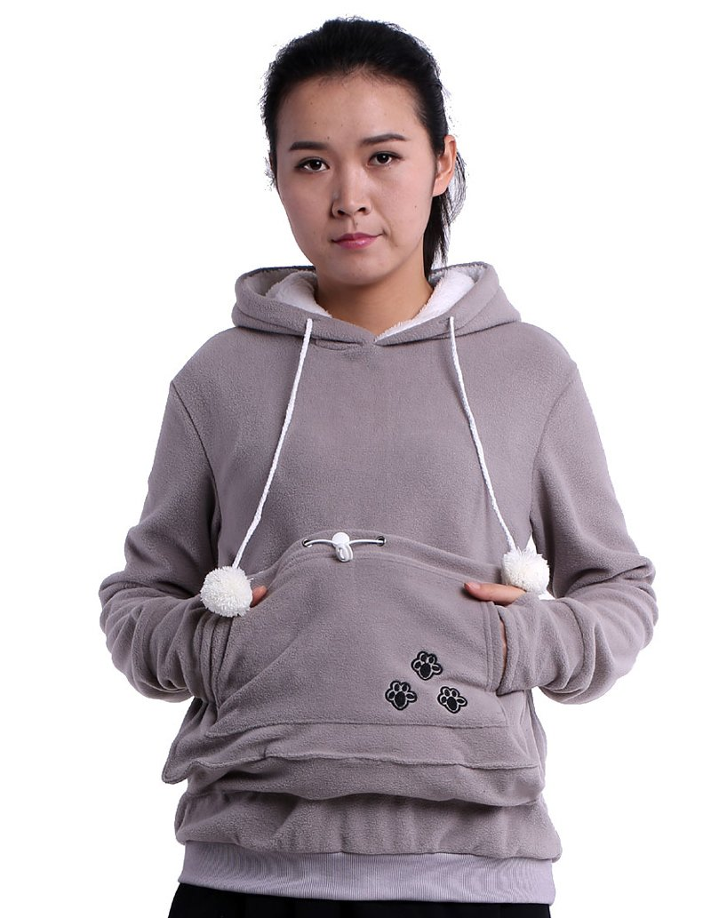 Fleece Hoodies Pet Holder Cat Dog Kangaroo Pouch Carriers Pullover Grey S