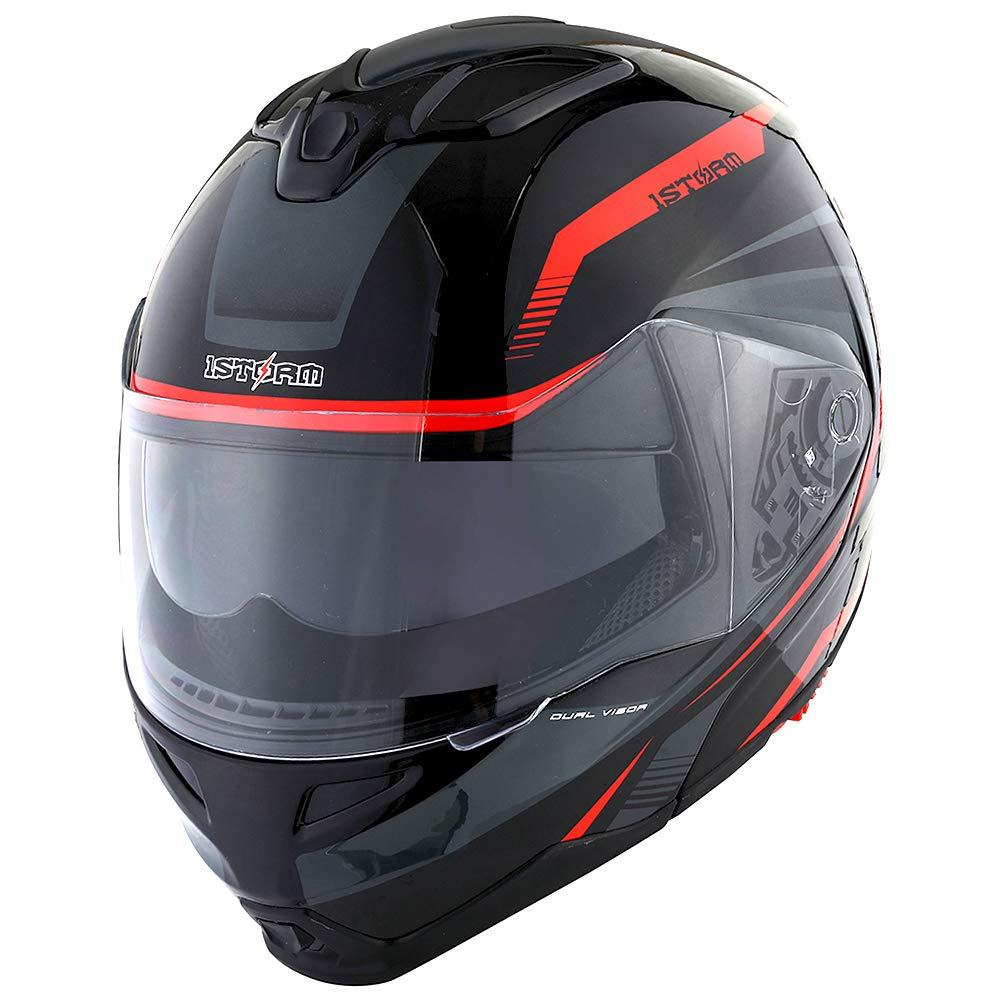 1Storm Motorcycle Street Bike Modular/Flip up Dual Visor/Sun Shield Full Face Helmet Storm Tron Red by 1Storm (Image #2)