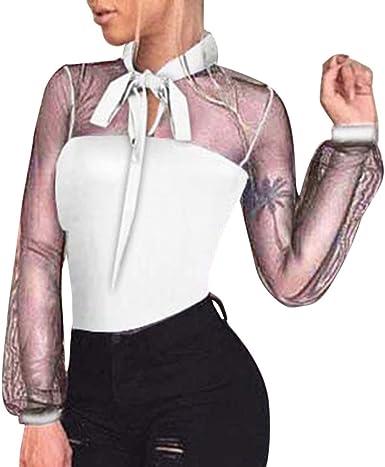 MYONA Mujer Body Manga Larga, Mono Camiseta Perspectiva con Arco Leotardo Ajustado Elegante para Carnaval Fiesta Clubwear Top Jumpsuit Bodysuit Elástico Ropa Interior Ropa de Domir Casual: Amazon.es: Ropa y accesorios