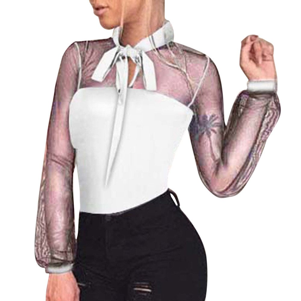 Nevera Women Patchwork Bodysuit Mesh See Through Long Sleeve Rompers Top White