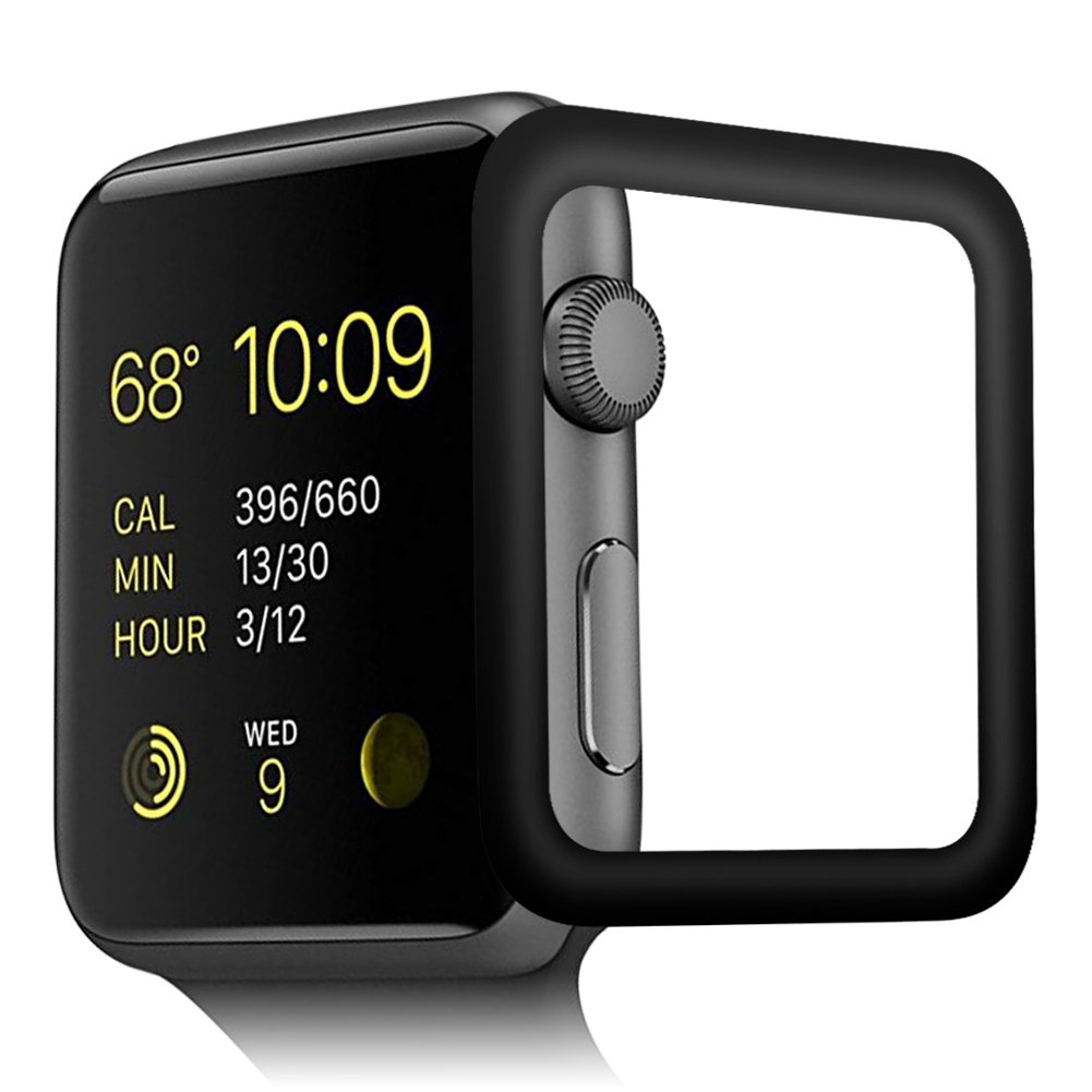 OMYFILM Apple Watch Screen Protector, Apple Watch Tempered Glass Screen Protector [Soft Carbon Fiber Edge] [Scratch-Proof] Screen Protector for Apple Watch Series 2 Series 3 (42mm Black)