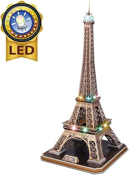 CubicFun Rompecabezas 3D Francia LED Arquitectura Modelo Kits de Construcción Puzzles 3D para Adultos, DIY Papercraft Lighting Paris Eiffel Tower Regalo de Decoración Juego de Juguete, 82 Piezas: Amazon.es: Juguetes y juegos