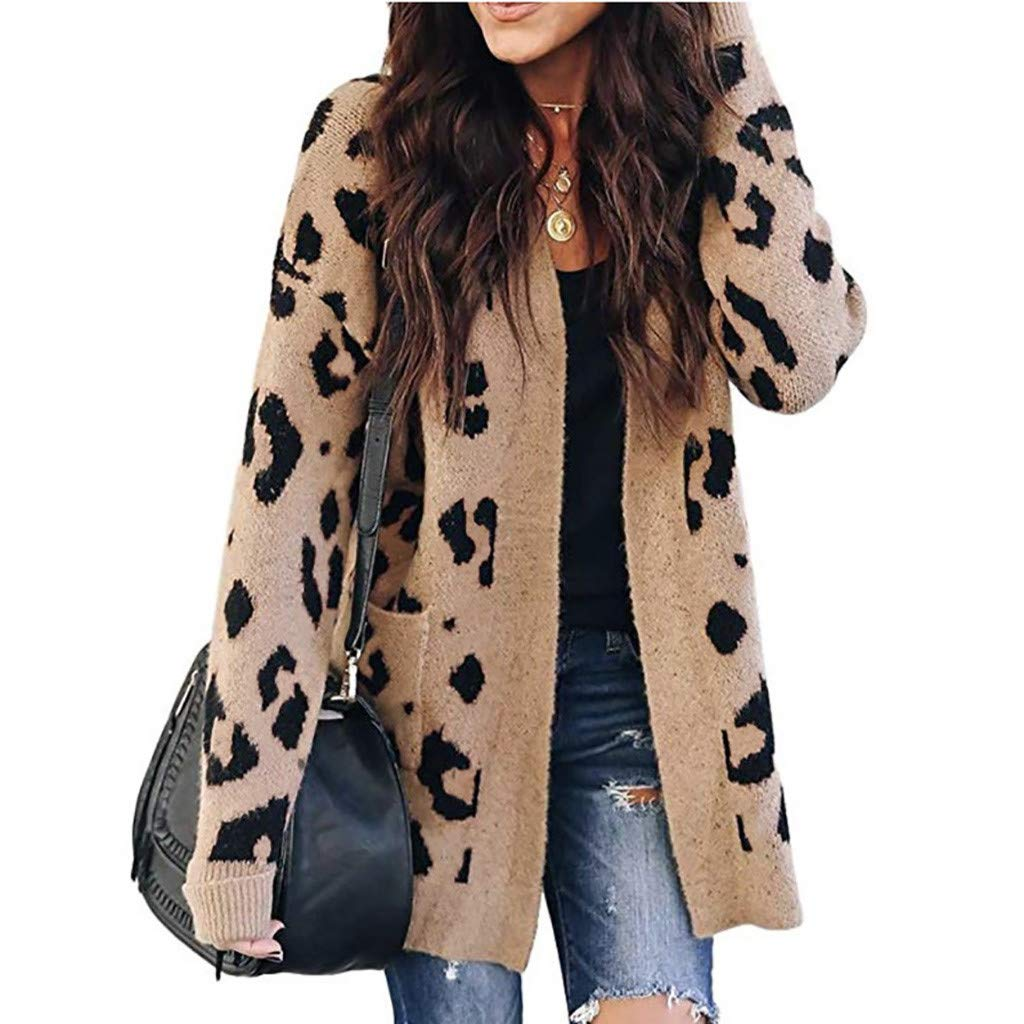Lazapa Women Fall Winter Warm Coat Fashion Leopard Long Sleeve Pocket Knit Cardigan Loose Casual Wild Sweater Jacket