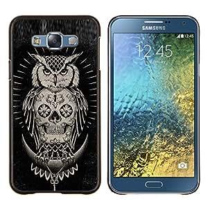 KLONGSHOP // Cubierta de piel con cierre a presión Shell trasero duro de goma Protección Caso - Cráneo búho nativo americano Negro - Samsung Galaxy E7 E700 //