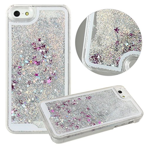 Rinastore iPhone 6s Plus case,iphone 6 Plus case,Creative Design Flowing Quicksand Moving Stars Bling 3D Glitter Floating Dynamic Flowing Case Liquid Cover for Iphone 6/6S 5.5inch (Silver star) (Case Silver Design Stars)