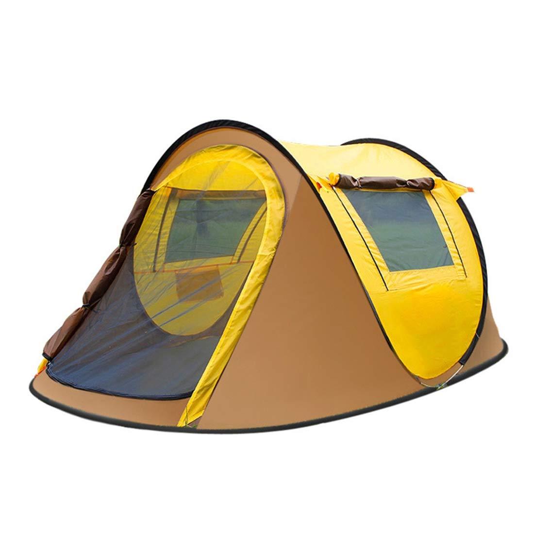 Xasclnis Bergsteigerzelt 3-4 Personen Automatik Feld Camping Doppelzelt Winddicht Sonnenschutzzelt Geeignet für Outdoor-Athleten (Farbe : Gelb)