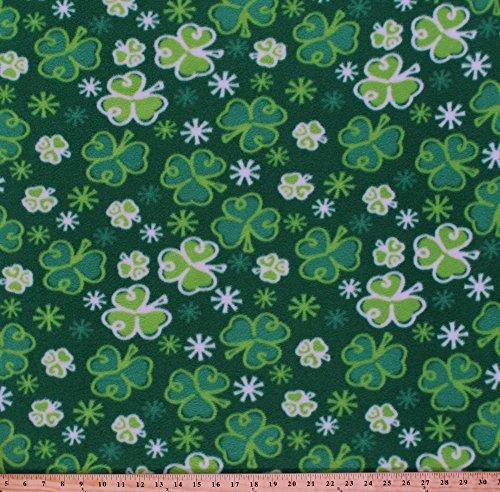 [Fleece Shamrocks Shamrock Botanical St. Patrick's Day Irish Green Fleece Fabric Print by the Yard] (St Patricks Day Shamrocks)