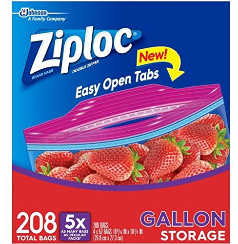 208 Bags Ziploc Gallon Smart Zip Lock Double Zipper Food Storage 4 boxes x 52 Count, New!!!