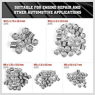 HORUSDY 131Pc Thread Repair Kit, HSS Drill Helicoil Repair Kit Metric M5 M6 M8 M10 M12 (Black): Automotive