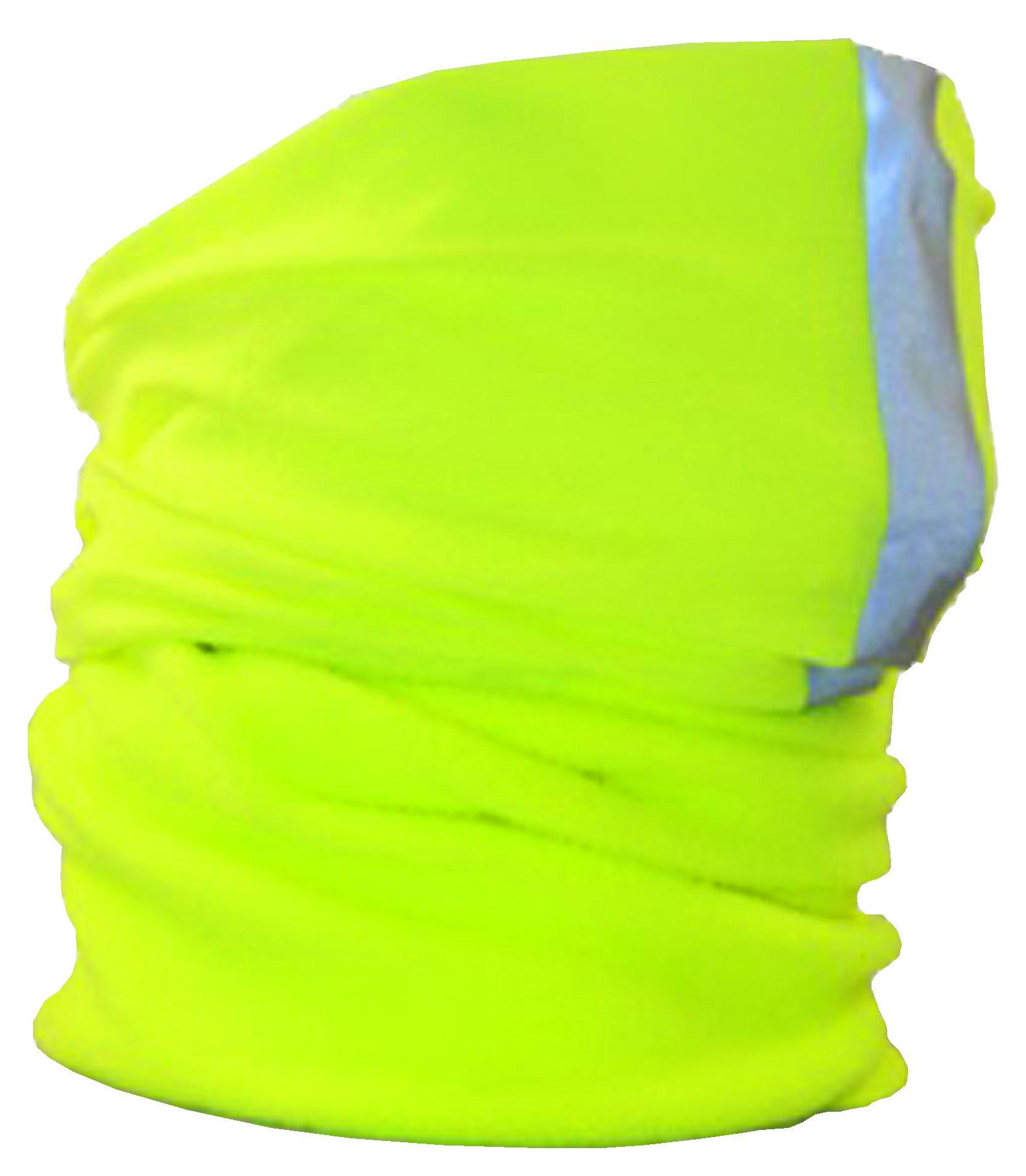 Ladies Womens Yellow Part Fleece Hi Viz Florescent Reflective 3M Scotchlite Striped Multi Function Hair Band Neck Warmer Scarf Headband Balaclava Beanie Head Cap Site Workwear Bike Bicycle